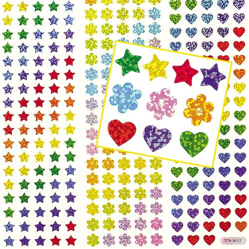 - Baker Ross Mini Holographic Stickers 3 Assorted Shapes for Kids to Decorate Crafts & Cards Scrapbooking (Pack of 348)