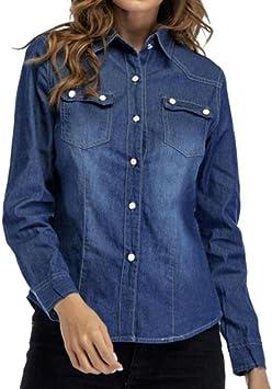 LuckyGirls ❤️• •❤️ Mujer Camisetas Manga Larga Camisa Vaquera Bolsillo Tops Blusa Sudaderas Camisas (L, Azul Oscuro): Amazon.es: Deportes y aire libre