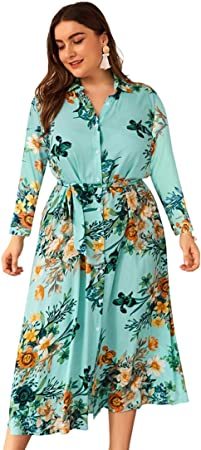 MRSDBTL Vestido Casual de Mujer Vestido de Camisa de Talla Grande Camiseta de Manga Larga para Primavera, Verano, otoño,Verde,4XL: Amazon.es: Hogar