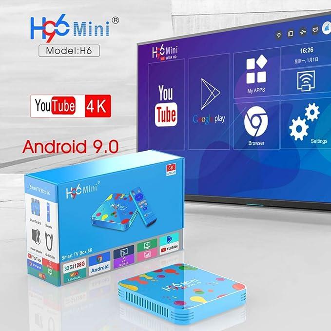 4G 128G Android TV Box HDR 6K, H96 Mini H6 Android 9.0 Smart TV Box Quad Core 4G DDR3 128G EMMC ROM Set Top Box Soporte 4K 6K 3D H.265 Dual WiFi