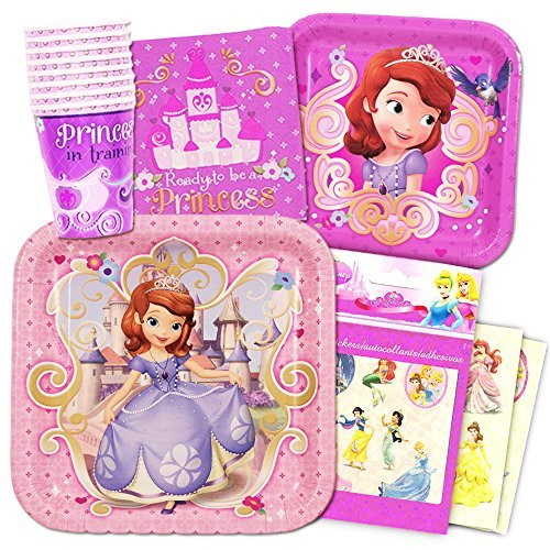 Disney Sofia the First Party Supplies Value Set-- Birthday Party Plates, Cups, Napkins and (Sofia The First Party Decoration)