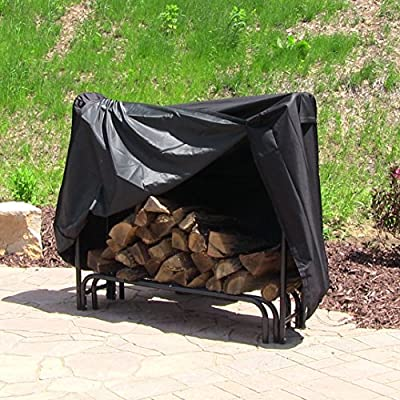 Sunnydaze Heavy Duty Firewood Log Rack Cover, Black, 4 Foot