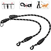 SlowTon Double Dog Leash, 2019 New Version Sliding Design Dual Pet Lead Splitter, 360° Swivel Hook No Tangle Heavy Duty Reflective 2 Dogs Leash Coupler Walking & Training Leash for Two Dogs Daily Use