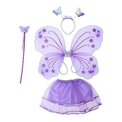 BESTOYARD Déguisement de fée papillon Aile de Fée Baguette Magique Serre-tête et tutu Jupe 4 pièces (Violet)