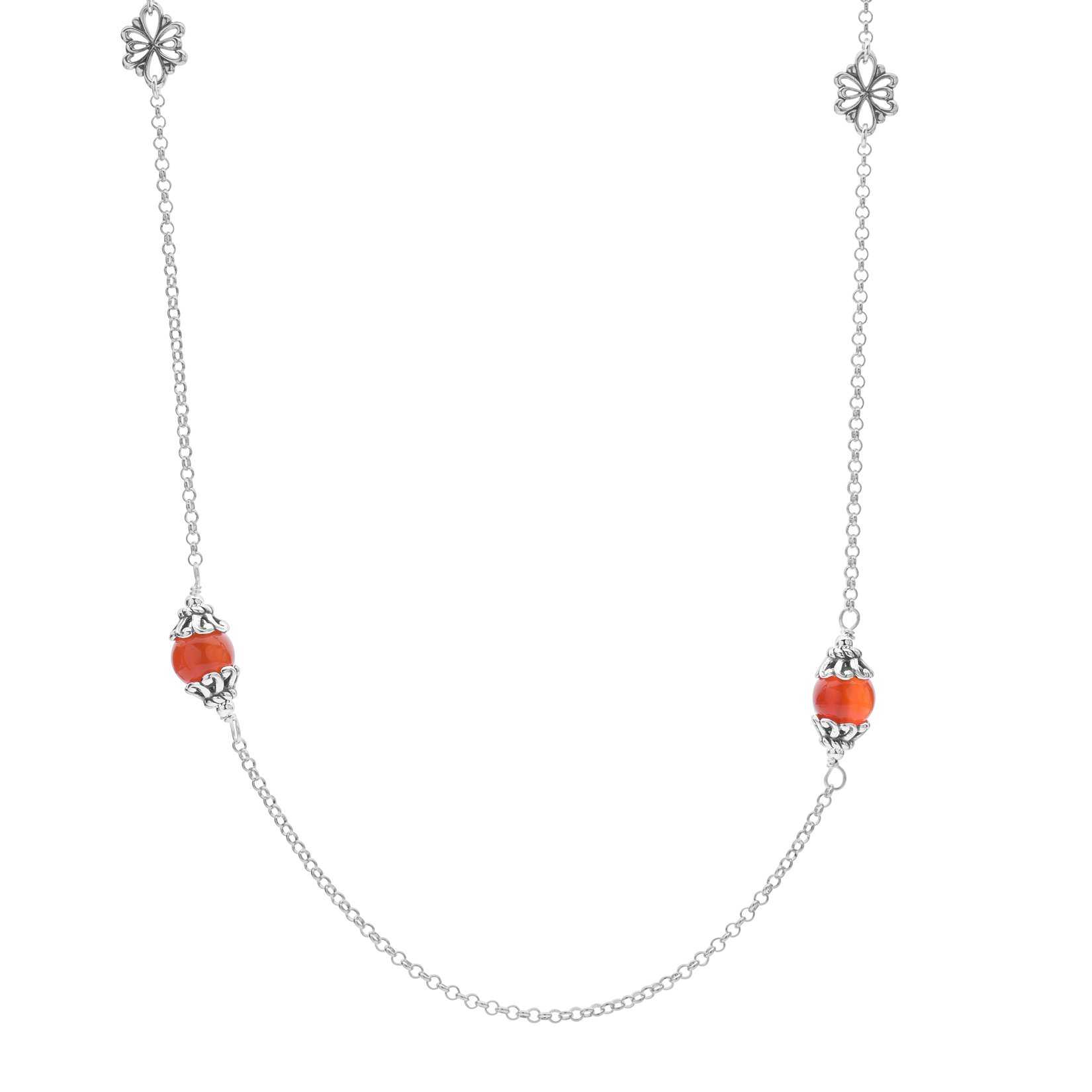 Carolyn Pollack .925 Sterling Silver Carnelian Filigree Bead Station Necklace with Rolo Chain, 32''