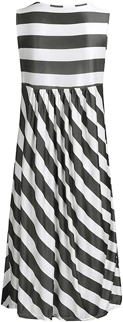 Dunacifa Summer Dress for Women Casual Round Neck Stripe Print Mini Dress with Pocket Casual Sleeveless Short Dress