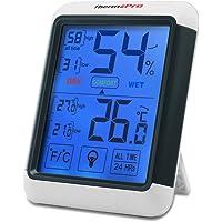 ThermoPro TP55 Termómetro Higrómetro Digital Interior, Medidor de Humedad y Temperatura con Pantalla Táctil LCD de Retroiluminación, Memoria Máxima/Mínima, Monitor de Confort para Habitación