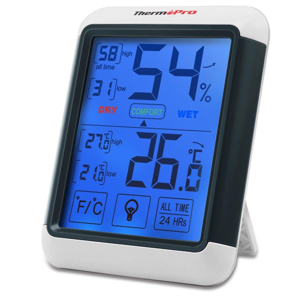 ThermoPro TP Termómetro Higrometro digital con gran Pantalla táctil y Retroiluminación azúl
