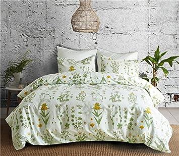 WINLIFE Pastoral Garden Floral Bed Cover Green Leaves Print Duvet Cover (Leaves 1, King)