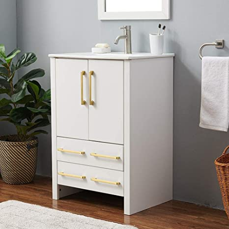 Amazon Com 24 Inch Modern White Bathroom Vanity Bathroom Vanity Sink Combo White Wood Bath Vanity With Sink Bathroom Vanity Cabinet With Large Storage 2 Door 2 Drawer Kitchen Dining