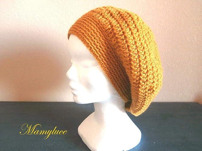Béret bonnet femme ado laine moutarde mode hiver tendance idée cadeau noël  Anniversaire Rentrée fait main au crochet  Amazon.fr  Handmade 93263e73091