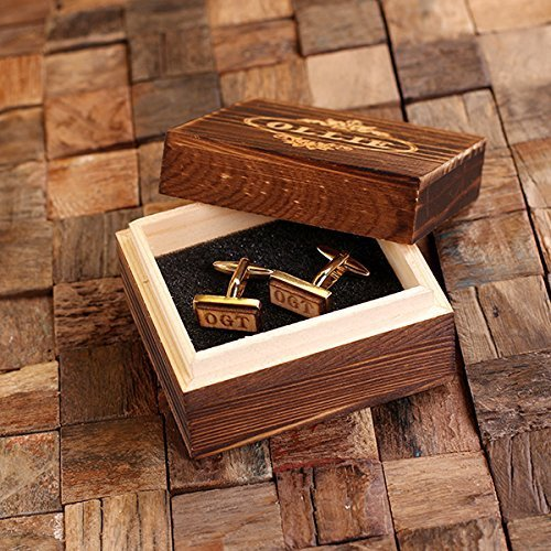 (Vintage Style Monogrammed Solid Oak Cufflinks in Gift Box - Silver, Gold and Gunmetal Finish)