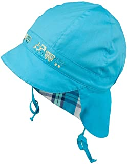TIE UP 100% Cotton hat with UV +30 SUN PROTECTION Spring Summer BABY BOYS (Newborn-3 months, 3-004039-White/Blue)