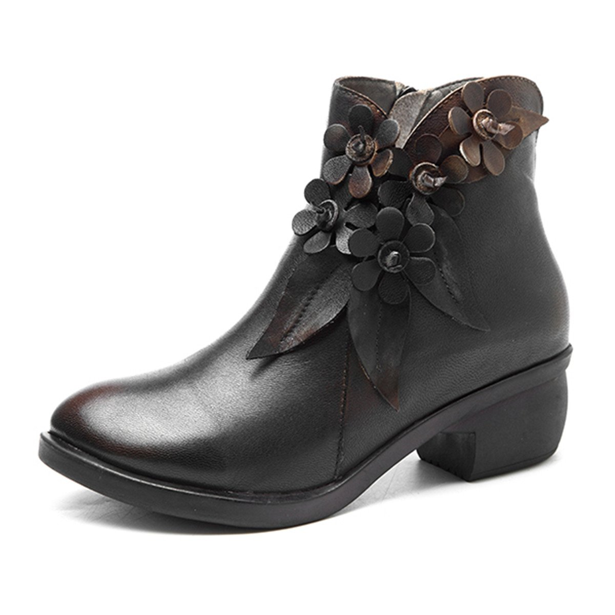 Socofy Leather Ankle Bootie, Women's Vintage Handmade Fashion Leather Boot Rose Floral Shoes Oxford Boots B077G2LCZK 6 M US|Dark Grey