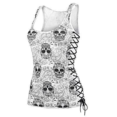 Fashion Vest Women Sexy Sun and Moon Printed Lace Insert O-Neck Tank Top: Clothing