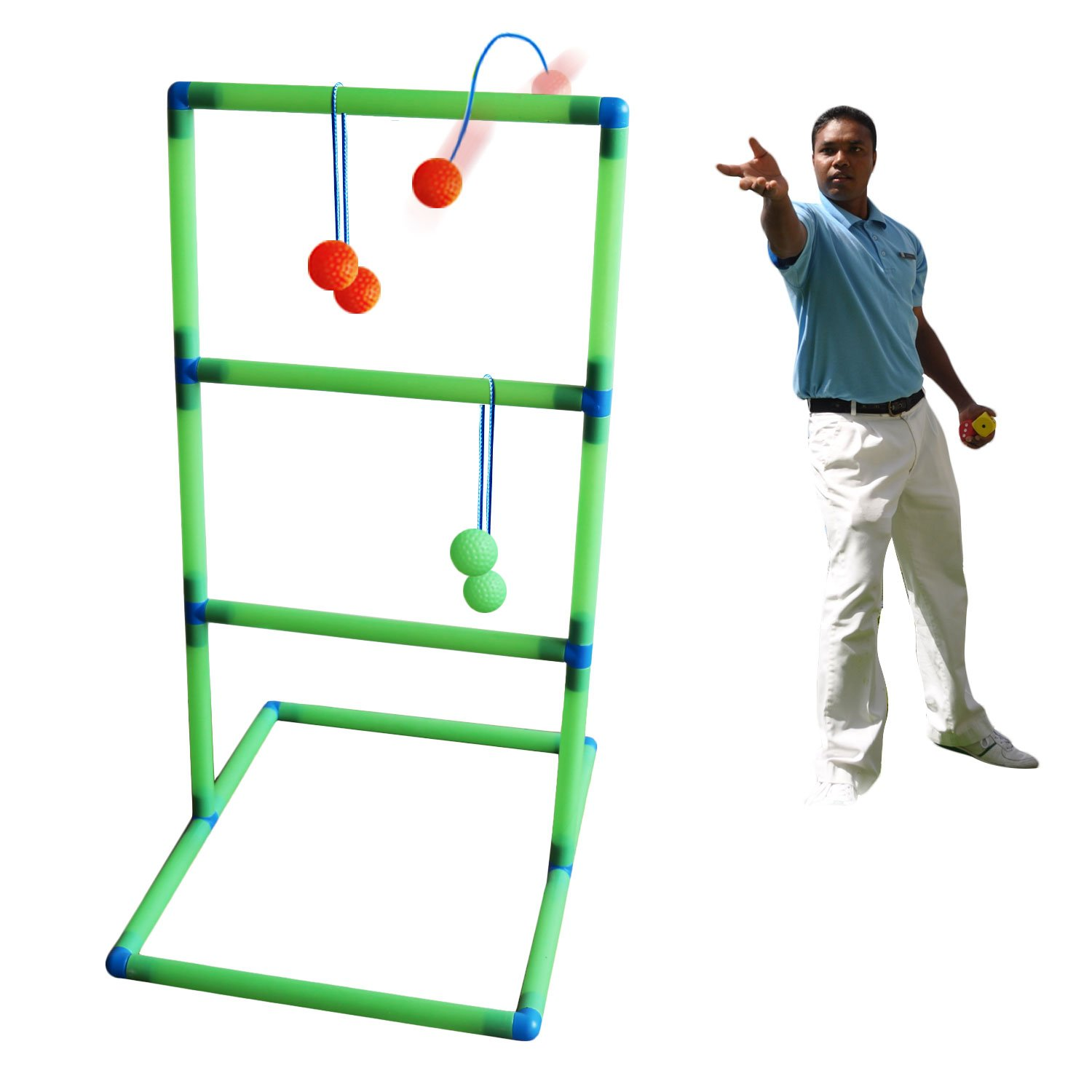 Freshday Luminous Ladder Ball Game Set, with A Flashlight(Battery not Included), for Adults & Kids Game for - Backyard, Beach, Lawn, Pool, Camping