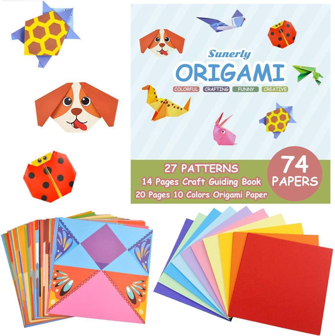 Kit di origami Sunerly colorato con libro di istruzioni di 14 pagine 74 carte di origami vivaci fronte-retro 27 progetti Origami per bambini Principianti Corsi di formazione e scuola