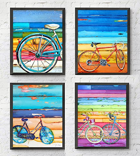Bicycle ART PRINTS Set of 4 by Danny Phillips, UNFRAMED, Mixed media collage wall art decor posters, 8x10 inches