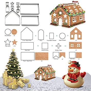 Christmas Gingerbread House Cartoon.3d Christmas Gingerbread House Cookie Cutters Fantasyday 10 Pcs Stainless Steel Cartoon Biscuit Cutter Mould For Holiday Diy Baking Cake Fondant