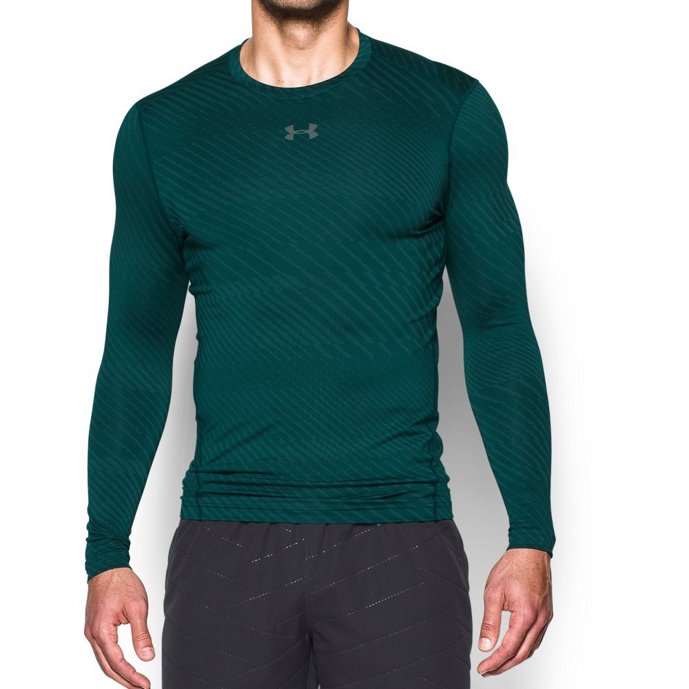 Under Armour Mens Coldgear Armour Jacquard Compreshort Sleeveion Crew,Arden Green (919)/Graphite, Large