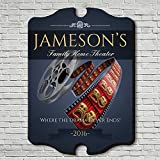 Family Movie Time Personalized Home Theater Sign (Large 21'' x 16'')