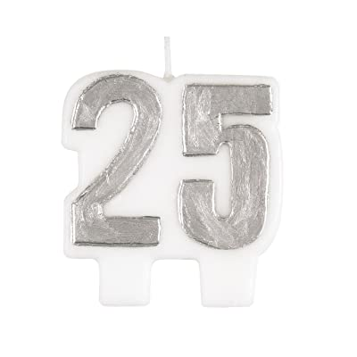 Silver Number 25 Birthday Candle: Kitchen & Dining