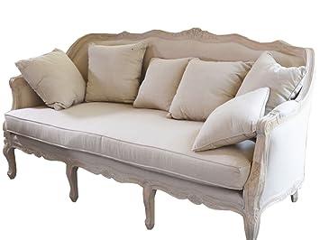 Elegante Landhaus Sofa 3 Sitzer Couch Wohnzimmer Vintage Creme Antik Retro  Neu