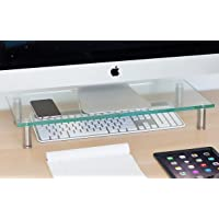 """Mount-It! Computer Monitor Stand Desktop Riser, Clear Tempered Glass Brushed Aluminum Legs, Fits 24, 27, 30, 32 Inch Screens, 66 Lbs Capacity (MI-7260) (22"""" X 9.5"""")"""
