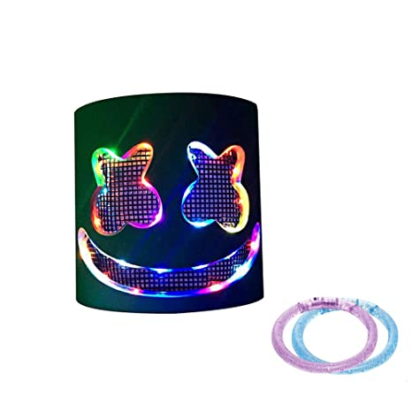paradise001 4 Colores Marshmallow DJ Mask + 2 Pulseras LED, Fiesta de Halloween Night Club