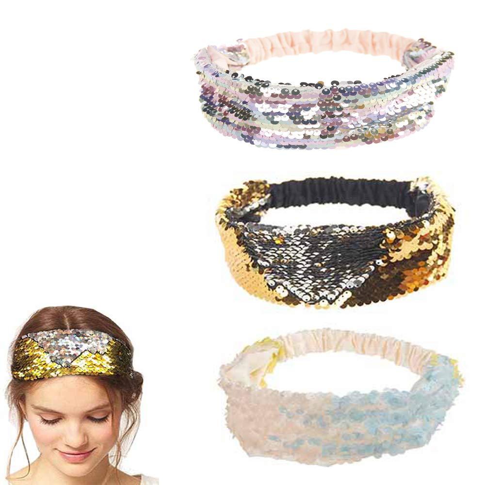 Reversible Mermaid Sequin Hairband Hair Band Scale Women Headband Ornaments T