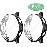Haojavo 2 Pack Screen Protector Case for Galaxy Watch Active 2 44mm, Soft TPU Slim Fit Full Cover Screen Protector Case for Galaxy Watch Active 2 44mm Smartwatch Bands Accessories (Black+Black, 44mm)
