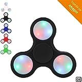 BeZen Fidget Spinners - Spinner Anti Stress Lumineux avec LED pour Adultes et Enfants (Bonus: eBook gratuit) (Noir)