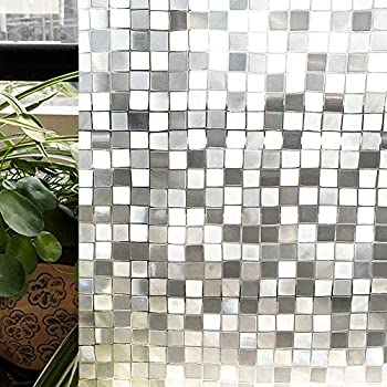 Privacy Window Film, Decorative Glass Film For Bathroom Home And Kitchen  17.7 By 78.8In