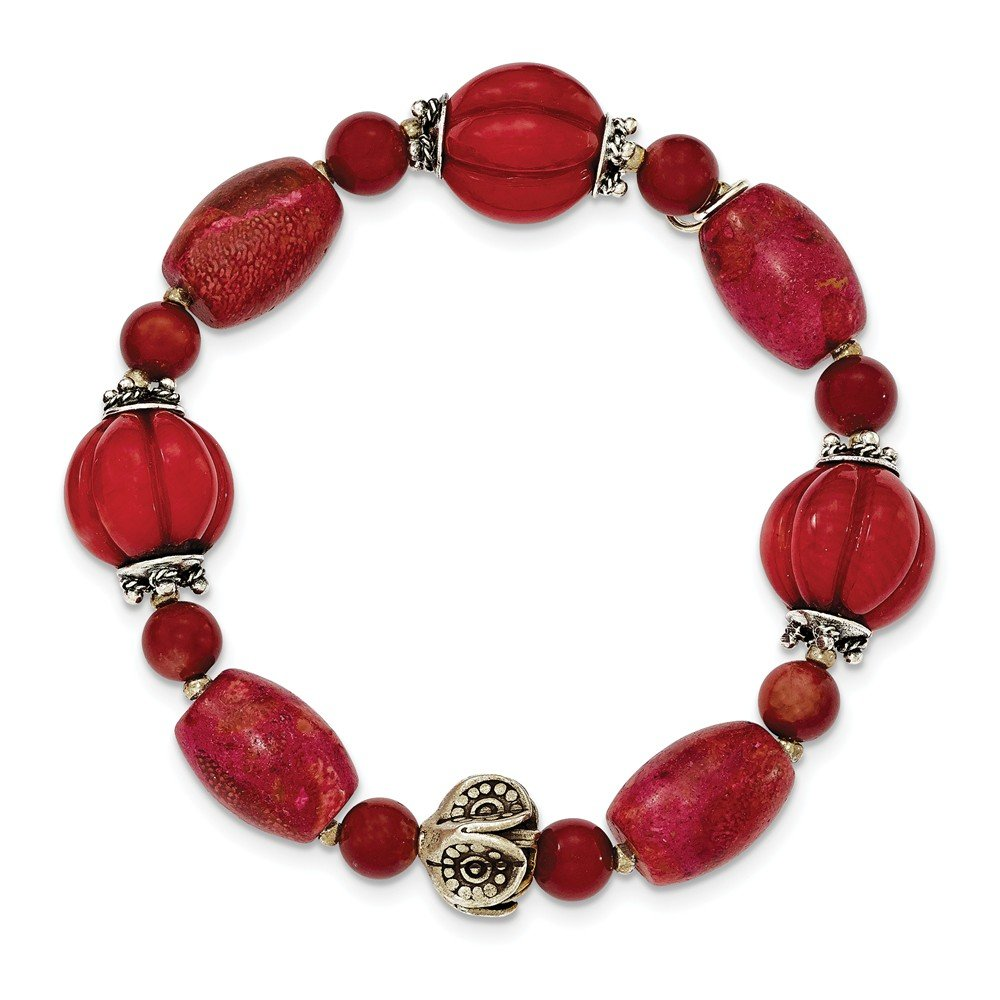 Jewelry Best Seller Sterling Silver Antiqued Beads & Red Coral Stretch Bracelet