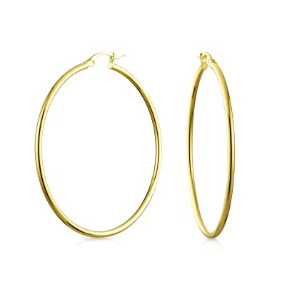 b40ef05af49b9 Simple Minimalist 14K Real Yellow Gold Hoop Earrings For Women Thin ...