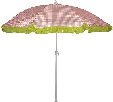 EZPELETA Sombrilla de Playa. Parasol de Playa. Ligero y Plegable de Acero. Paraguas Sol. Protección Solar UPF 50+. Diámetro 150cm. Estampado Flores/Cuadros/Rayas. Incluye Funda/Bolsa. - Cuadros-Coral: Amazon.es: Equipaje
