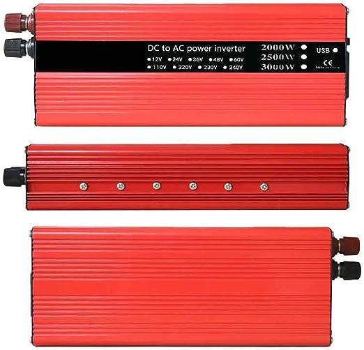 Amazon.es: VIGORFLYRUN PARTS LTD 2000W Inversor de Corriente Portatil DC 24V to AC 220V 50Hz Convertidor de Voltaje Transformador con 2 Puerto USB, Adaptador para Encendedor de Cigarrillos
