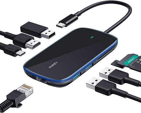 USB C Hub AUKEY 8 in 1 Type C Hub with Ethernet Port, 4K USB C