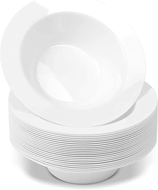 50-Pack SMALL 6 oz Safe /& Reusable and Great for Parties Premium Heavy Duty Disposable Dinnerware with Real China Design by Bloomingoods Disposable White Rose Gold Rimmed Plastic Dessert Bowls