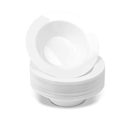 e4b9b64552 50 Disposable White Plastic Dessert Bowls | SMALL 6 oz. Premium Heavy Duty  Dinnerware with Real China Design | Safe & Reusable (50-Pack) by ...