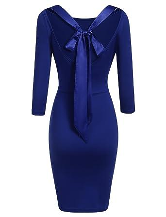 a3758e9c6846 ACEVOG Damen 3 4 Arm Jerseykleid Partykleid Abendkleid Rückenfreies Kleid  Bodycon Schleife Elastisch Herbst Sommer Schwarz Weinrot Blau Gr.S-XXL   Amazon.de  ...