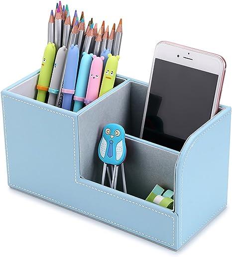 Modern Faux Leather Desk Organiser Tidy Pen Remote Control Holder Storage Box