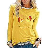 MNLOS Disfraz de Halloween para Mujer Casual Cuello Redondo Cabeza de Calabaza Estampado Manga Larga Camiseta básica Blusa Tops