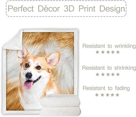 "NWT Pembroke Welsh Corgi Dog Soft Plush Throw~Blanket~White Bones Dogs~50 x 60"""