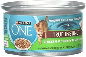 Purina ONE Natural Gravy Wet Cat Food, True Instinct Chicken & Turkey Recipe in Gravy - (24) 3 oz. Pull-Top Cans ( packaging may vary)