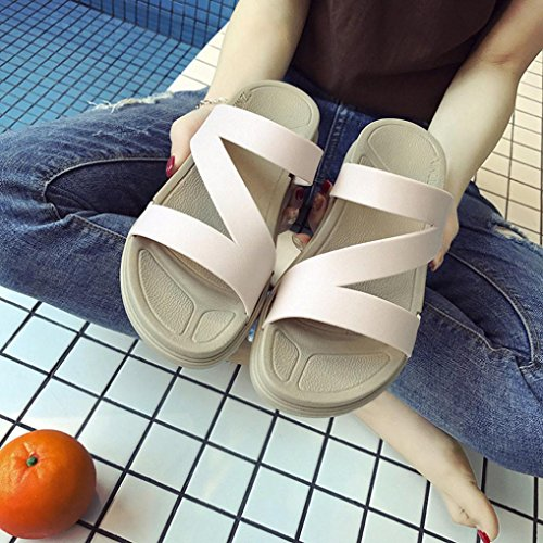 IGEMY Ladies Summer Beach Bath Slippers Casual Wedge Sandals Women Shoes Summer Sandals For Women Beige qjsRk9O4l
