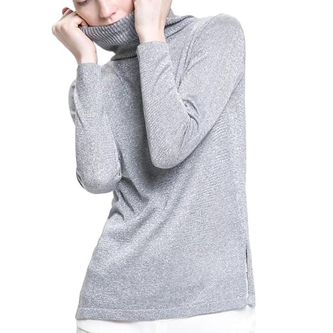 Hzjundasi Mujer Sencillo Moda Suéter Top Línea Oro y Plata Prendas de punto Pull-over