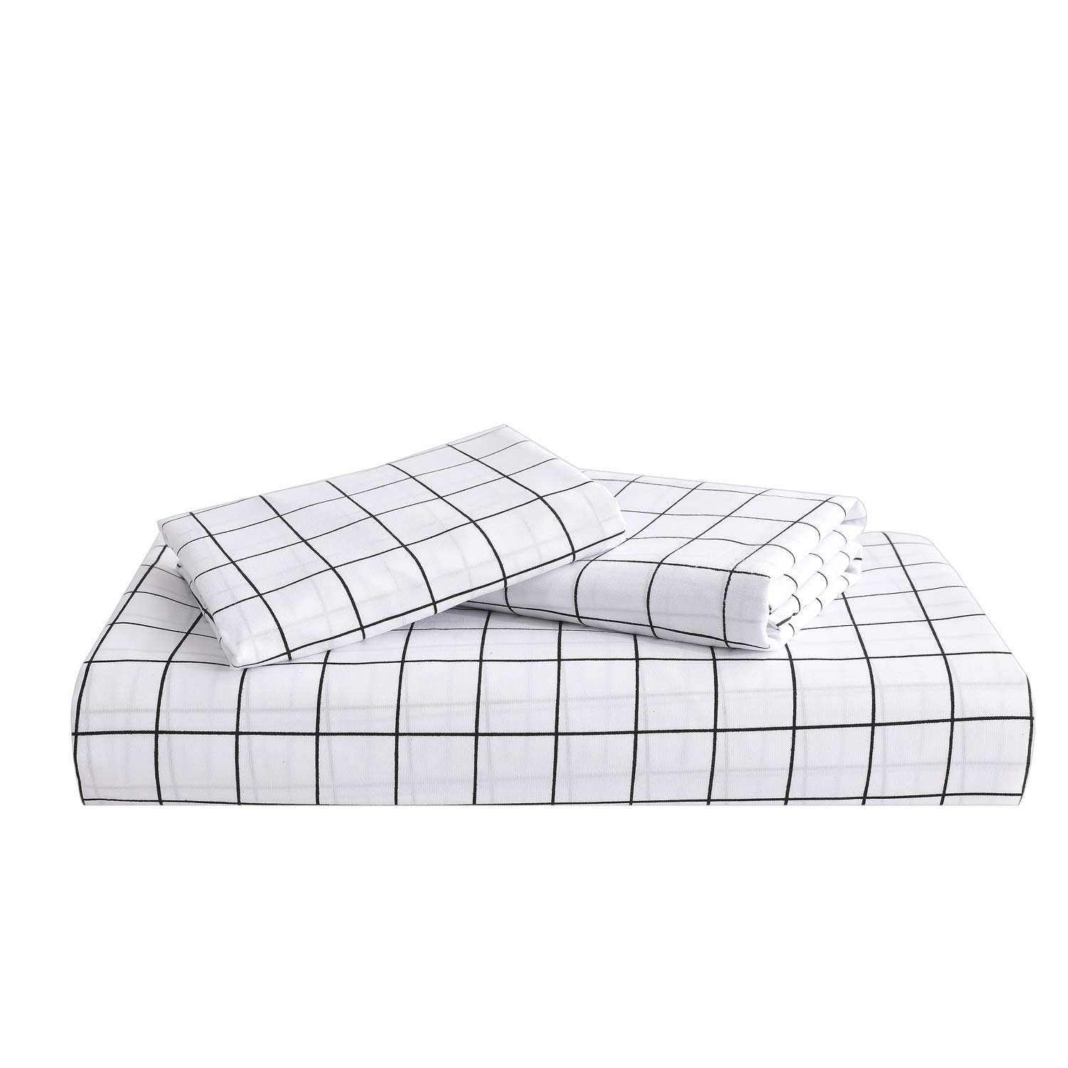 Brushed Microfiber Durable Gray Striped Printed Pattern Reversible DeerHome Bedding Duvet Cover Set King with Zipper Closure Lightweight Soft