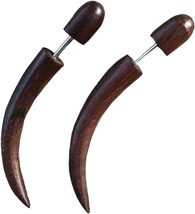 Fake Gauges Earrings Drops Wooden Earrings Black Flower Organic Natural Tribal Earrings Organic FG012 DW