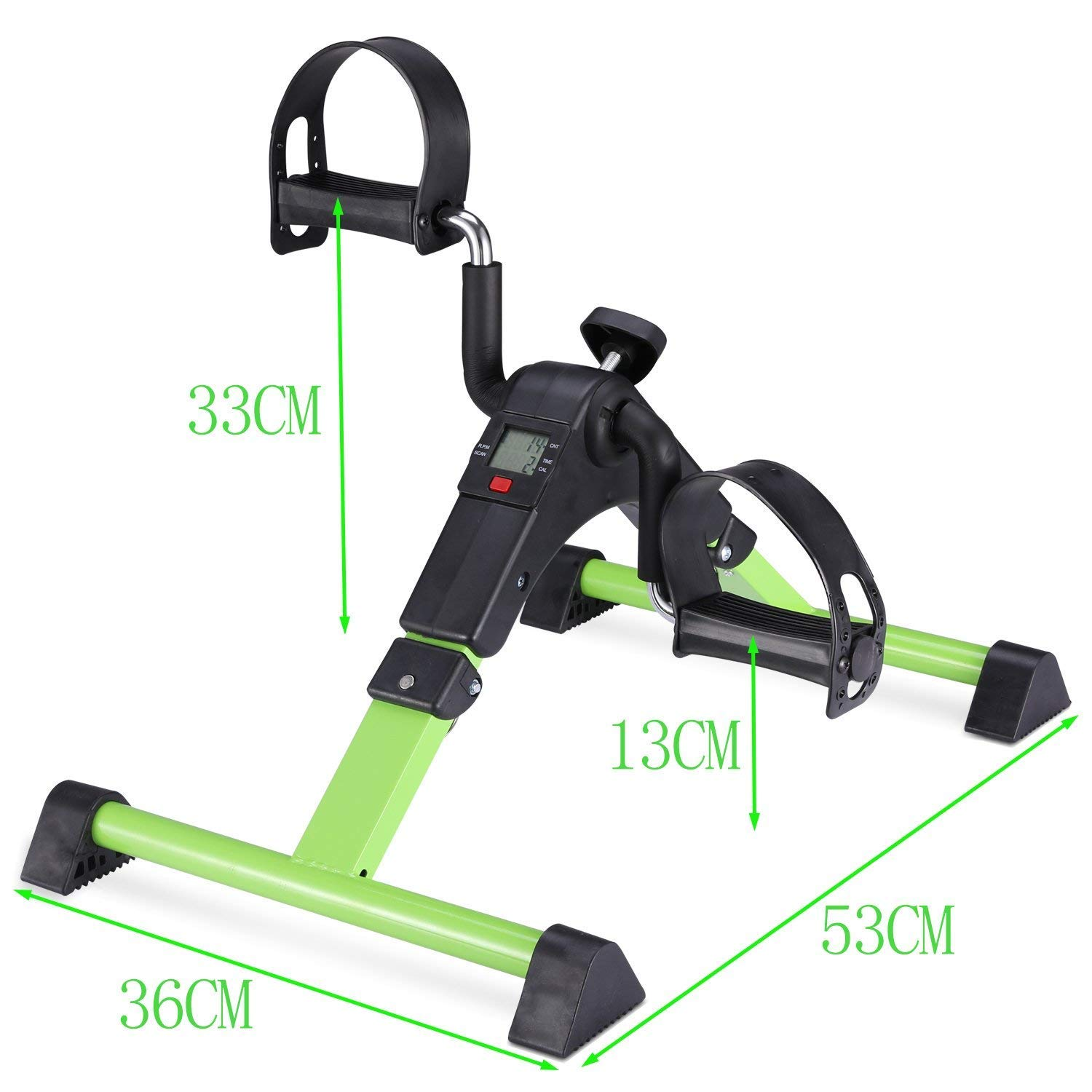 MOMODA Stationary Cycle Pedal Exerciser Desk Exercise Bike with LCD Monitor Foldable (Black/Green) by MOMODA (Image #4)